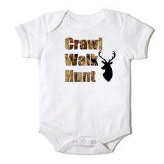 Crawl Walk Hunt in Camo Funny Onesie for Baby by CasualTeeCo, $14.00