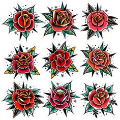 Traditional Rose Temporary Tattoos Rose Tattoos Temporary Rose Tattoos Red Rose Tattoos Watercolour Temporary Tattoos - These temporary Traditional Rose tattoos are printed in gorgeous bright colours. With bold lines th - Traditional Tattoo Flowers, Traditional Tattoo Old School, Traditional Roses, Traditional Tattoo Design, Traditional Flash, Traditional Tattoos, Traditional Tattoo Flash Art, Old School Tattoo Rose, Old School Rose