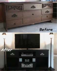 DIY Old Dresser Into a Cool TV Stand