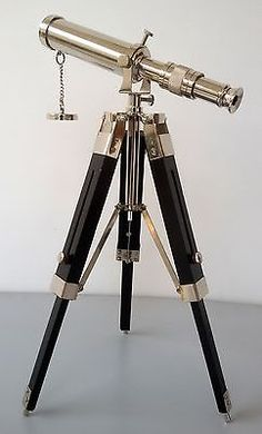 #Maritime #decor antique vintage nautical brass telescope with #wooden tripod sta,  View more on the LINK: 	http://www.zeppy.io/product/gb/2/291620874927/