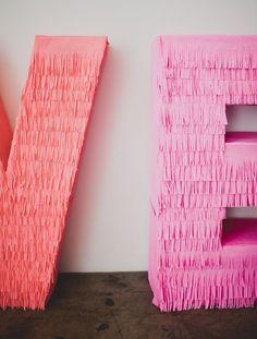 DIY: Giant Fringe LOVE Letters Giant Letters, Diy Letters, Diy Party Letters, Large Cardboard Letters, Paper Letters, Large Letters, Diy And Crafts, Paper Crafts, Paper Paper
