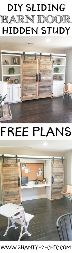 This sliding barn door hidden study is perfect for creating an office space when you don't have the room! Easy to customize and perfect for so many rooms! Free plans at www.shanty-2-chic...