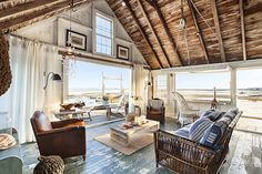 small seaside cottage living room + view // captain jack's wharf