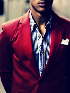 Blue Striped Shirt paired with Fall Red Blazer.