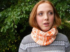 This hand-machine knitted snood is handmade using a blend of Wool (for warmth) and Acrylic (for washability) in cream and bright orange. Fair Isle Knitting, Friday, Pumpkin, Cozy, Orange, Halloween, Handmade, Pumpkins, Craft