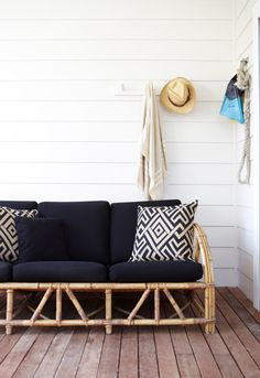 Idyllic Family Surf Trip at theThe Atlantic Byron Bay ~ Stace King bambo sofa with black and white cushions at … Bamboo Sofa, Rattan Sofa, Cane Furniture, Bamboo Furniture, Cane Outdoor Furniture, Cottage Furniture, Outdoor Lounge, Outdoor Rooms, Outdoor Decor
