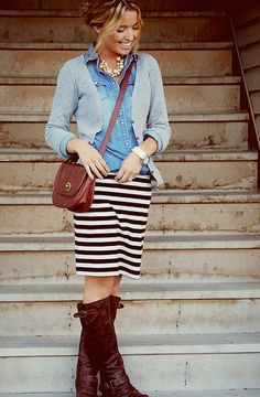 chambray/stripes/boots