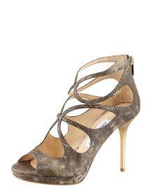 X18QE Jimmy Choo Latin Lizard-Embossed Leather Sandal, fw2012