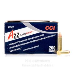 CCI 22 WMR Ammo - 200 Rounds of 35 Grain GamePoint JSP Ammunition  #22WMR #22WMRAmmo #CCI #CCIAmmo #CCI22WMR #JSP #GamePoint