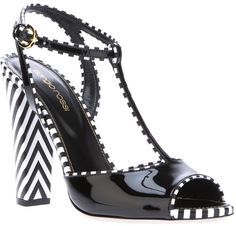 Sergio Rossi Bi Colour Tbar Sandal in Black