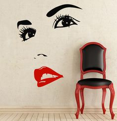 Makeup Wall Decal Vinyl Sticker Decals Home Decor Design Mural Make up Eyes Girl Woman Lips Cosmetic Hairdressing Hair Beauty Salon