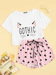 Shop & Buy Cat Print Tshirt And Heart Elastic Waist Shorts Casual Sleepwear Women Summer Cute Round Neck Short Sleeve Pajama Set Online from Aalamey Cute Pajama Sets, Cute Pajamas, Cute Sleepwear, Sleepwear Women, Pajama Outfits, Pajama Shorts, Cute Casual Outfits, Fashion Mode, Mini Dress With Sleeves