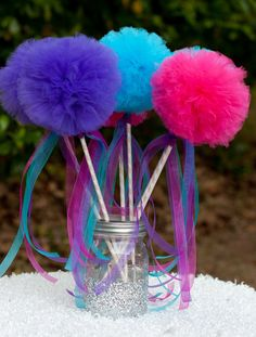 Princess Party Pom Pom Wands Pink, Purple and Turquoise