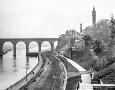 "New York circa 1905. ""High Bridge and the Speedway looking south."" The 1840s aqueduct over the Harlem River, closed since 1970, is reopening next week after a $60 million restoration.  Shorpy Historic Picture Archive"