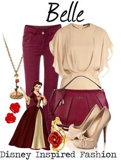 Belle - from Disney's Beauty and the Beast by elliekayba featuring rose stud earrings ❤ liked on PolyvoreEtro flutter sleeve shirt / P...