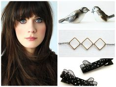 I LOVE Zooey Deschanel and these picks are SO her!!!  Vintage Sparrows (www.etsy.com/listing/183399583), a handmade geometric necklace (www.etsy.com/listing/124438449), and handmade POLKA DOT hairbows (www.etsy.com/listing/113414002)?!?!  hahahaha!  (right click and open links in next window to see them!)