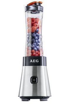 AEG PerfectMix SB 2400 Mini Mixer mit 0,4 PS-Motor & Tritanflasche (bis zu 23.000 U/min für perfekte Smoothies, 4 Edelstahlmesser, bruchfeste 0,6 l Tritan-Trinkflasche BPA-frei, Standmixer mit gebürstetem Edelstahlgehäuse)