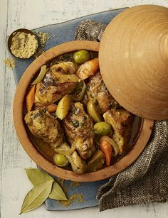 Spiced chicken tagine with preserved lemon and olives Gluten-free and a fantastic dinner to serve at the weekend, this chicken recipe is sure to impress! Moroccan Tagine Recipes, Moroccan Dishes, Chicken Spices, Chicken Recipes, Tagine Cooking, Morrocan Food, Cooking Recipes, Healthy Recipes, Middle Eastern Recipes