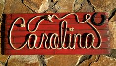 CAROLINA: 42 Country Western Rope Name Sign Shabby by RopeAndStyle Fun Ideas, Craft Ideas, Colored Rope, Western Parties, Stage Set, Pallet Signs, Name Signs, Wood Planks, Shower Gifts
