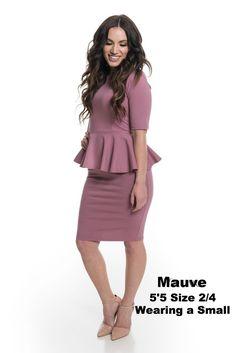 Brigitte Brianna Peplum Dress - SexyModest Boutique Flattering Dresses, Modest Dresses, Business Outfits, Ruffle Sleeve, Body Shapes, Vintage Inspired, Peplum Dress, Plus Size, Fashion Outfits