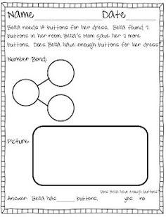 Number Bond Story Problem {Freebie} This freebie comes from my Number Bond story problem {packet} ! Math Classroom, Kindergarten Math, Teaching Math, Teaching Ideas, Classroom Ideas, Classroom Resources, Future Classroom, Math Resources, Math Stations