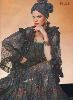 Yves Saint Laurent Haute Couture- 1977 Sheer paisley bed jacket, blouse and long skirt ensemble. Matching turban hat. L'officiel USA Spring 1977