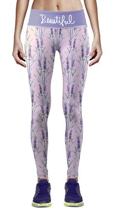 Zipravs Women's Running Fitness Workout Compression Tights Flowers Printed Pattern Yoga Pants