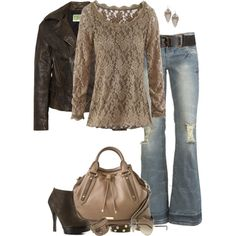 Love the lace with leather, and distressed jeans.