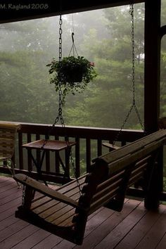 Porch swing, covered deck, cabin