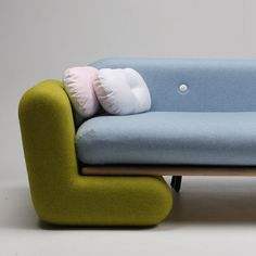This couch by New Zealand design graduate Marvin Reber can be taken apart and reassembled to form indoor play apparatus for children