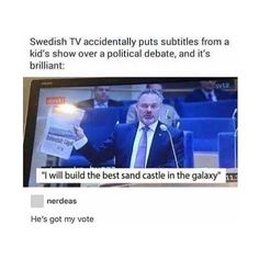 Lol children's show subtitles over a political debate