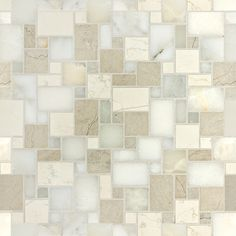 """Bianco Onyx, Spring White, Bianco Antico, Smoke. Piece sizes: 5/8""""; 5/8""""; X 1-1/4"""";, 1-1/4 X 1-7/8""""; Interlocking Sheet"""