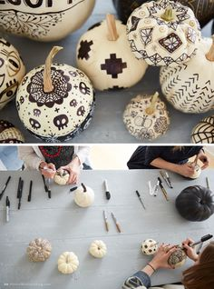 Chic pumpkin centerpiece ideas with just markers and pens.