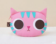 Pinky cat coin purse by mochikaka on Etsy