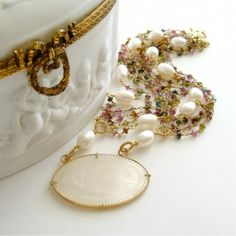 Necklace: tourmaline, mother of pearl game counter, baroque pearls. Gorgeous. 38539_a