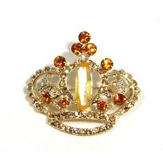 Yellow Topaz Color Austrian Rhinestone Royal Crown Gold Plated Brooch Pin - List price: $49.95 Price: $16.95 + Free Shipping