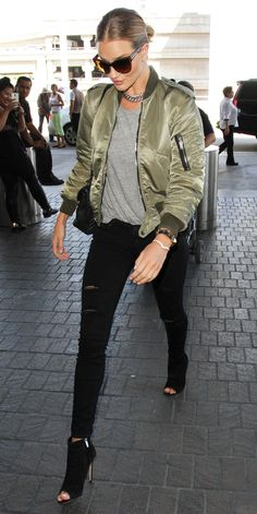 10 Celebrities Prove the Army Green Bomber Jacket Is the Season's New Must-Have - Rosie Huntington-Whiteley from InStyle.com