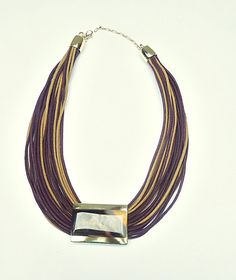 Necklace in fiber with agathe stone and gold plated by CRISDONATI