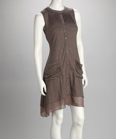 Take a look at this Celine K Brown Knit Sleeveless Dress by RM Richards & Celine K on #zulily today!
