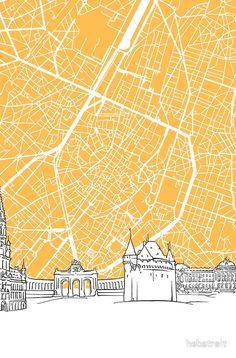 Brussels+Belgium+Skyline+Map