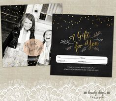 This 5x5 Gift Certificate features a chalkboard background and golden accents! Just place in your photo and edit the text in Photoshop or