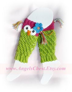 $6.99 Ravelry: PDF Crochet Pattern Owl Leg Warmers or Leggings Sizes Newborn to Preteen No. 19 pattern by Mary Angel Morris