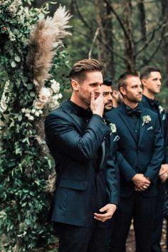 All Black Suit, Black Suit Wedding, Black On Black Tux, Black Suit Groom, Black And White Wedding Theme, Black Wedding Cakes, Black Wedding Rings, Burgundy Wedding, Dream Wedding