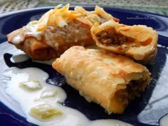 Chimichangas are the bomb. This Chimichanga recipe is perfect for Beef or Chicken. It's easy to make and uses Egg Roll wrappers to get a nice crispy outside instead of tortillas. Dog Recipes, Milk Recipes, Mexican Food Recipes, Beef Recipes, Chicken Recipes, Vegan Recipes, Cooking Recipes, Vegan Meals, Cooking Ideas