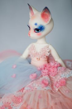 #LenivkaShop #Etsy #BJD #doll #Pipos #cat #dress #handmade #craft #pink #peach #blue #flowers