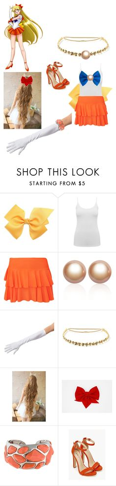 """""""sailor venus"""" by phoenix-fox ❤ liked on Polyvore featuring M&Co, WearAll, Amour de Pearl, Jennifer Behr, Kenneth Jay Lane and JustFab"""