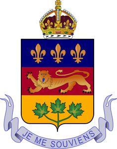 Quebec coat of arms  Devise du Québec ¨JE ME SOUVIENS ¨