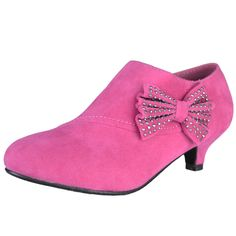Girls Dressy Fuchsia Suede Slip-on Low Heel Ankle Boots with Embellished Side Bow Clogs Shoes, Kid Shoes, Girls Shoes, Girls Footwear, Low Heel Ankle Boots, Low Heels, Pink Dress Shoes, High Heels For Kids, Buy Shoes Online