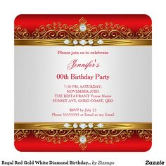 Regal Red Gold White Diamond Birthday Party 5.25x5.25 Square Paper Invitation Card