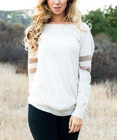 Another great find on #zulily! Beige & Mocha Stripe Sweater by Pinkblush #zulilyfinds